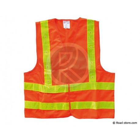 GILET DE SECURITE HAUTE VISIBILITE ORANGE/JAUNE 16 LEDS XXL