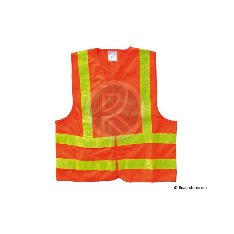 gilet de securite haute visibilite orange jaune 16 leds xxl road store. Black Bedroom Furniture Sets. Home Design Ideas