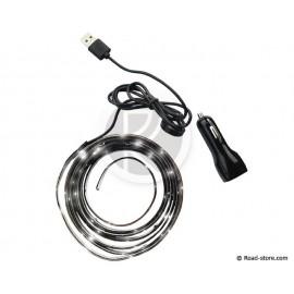 Flexibles Band Adhesiv 48 Leds 2m 12/24V Weiß USB Stecker + Zigarettenanzünderstecker