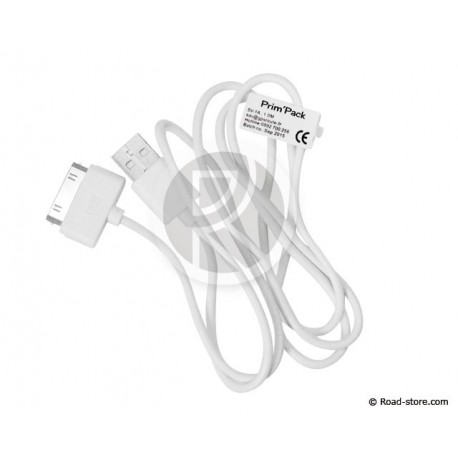 CABLE USB VERS APPLE 30-PIN DOCK 1M BLANC