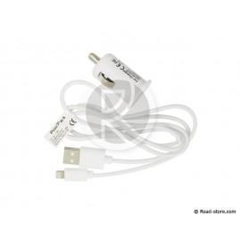 CHARGEUR 12-24V iPHONE 5/6... + iPAD + iPOD 5V 1000mA 1M BLANC