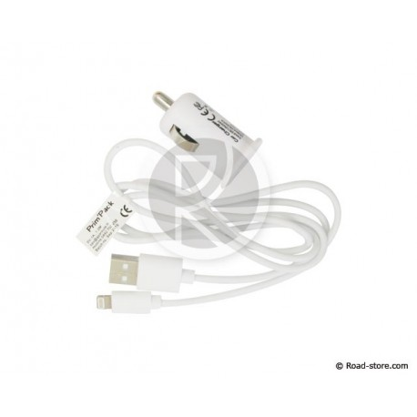 Charger 12-24V iPHONE 5/6... + iPAD + iPOD 5V 1000mA 1M BLANC