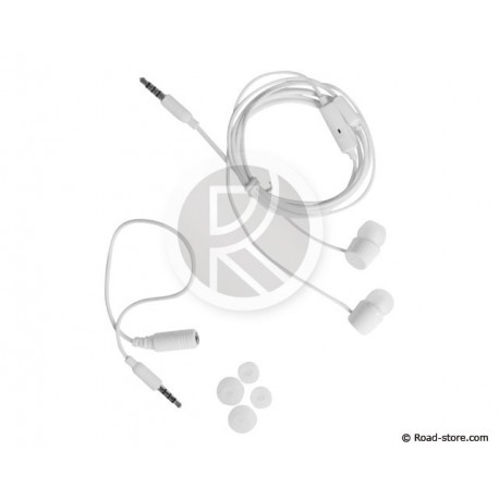 ECOUTEURS STEREO INTRA-AURICULAIRES + MICRO KIT-PIETON PRISE 3,5MM