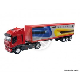 Scale model 1/43e iveco stralis trailer red
