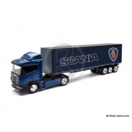 Scale model 1/43e scania trailer blue