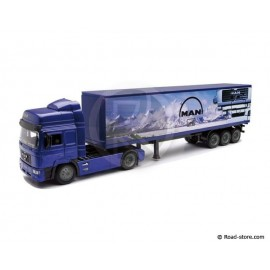 Scale model 1/43e MAN F2000 trailer blue