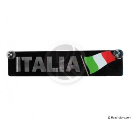 Platte Land Chrome + Fahnen Italien Saugnapf Befestigung 11x52cm