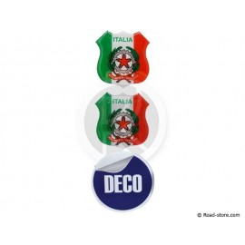 MINI ECUSSON DECO ADHESIVE A RELIEF ITALIA x2 (48 x 52 mm)