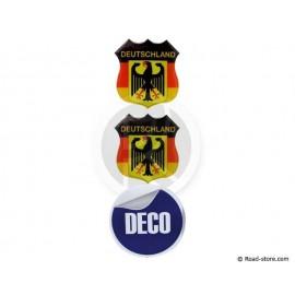 MINI ECUSSON DECO ADHESIVE A RELIEF DEUTSCHLAND x2 (48 x 52 mm)