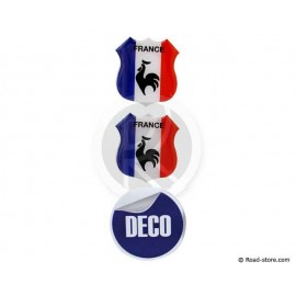 MINI ECUSSON DECO ADHESIVE A RELIEF FRANCE x2 (48 x 52 mm)