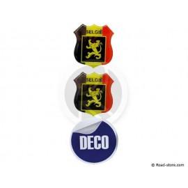 MINI ECUSSON DECO ADHESIVE A RELIEF BELGIE x2 (48 x 52mm)