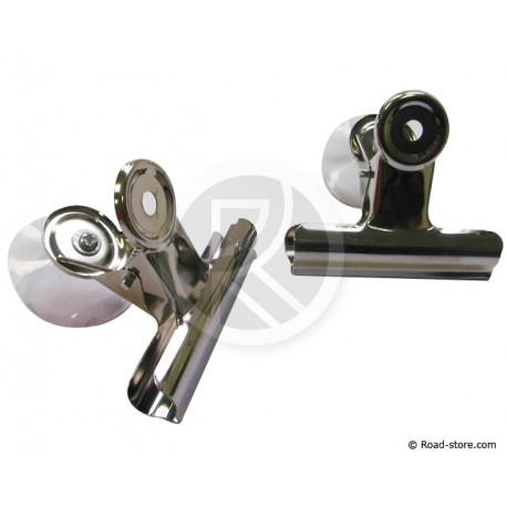 Set 2 Metallklemmen mit Saugnapf 7,5 cm