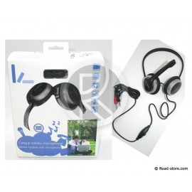 CASQUE STEREO MICROPHONE + CONTRLE VOLUME + 2 PRISES JACK