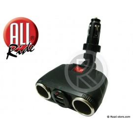 "Double Socket 12/24V ""TWIST & LOCK"" 8 AMP. + 2 USB"