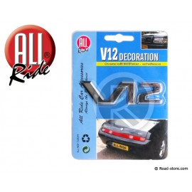 "DECORATION ""V12"" ADH CHROME 9,5 CM"