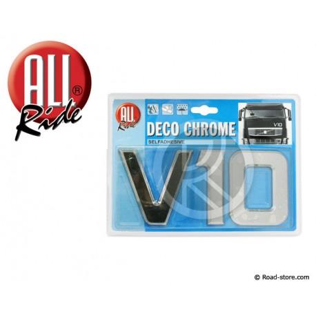"DECORATION ""V10"" ADH CHROME 3D 9CM X 1 PCE"