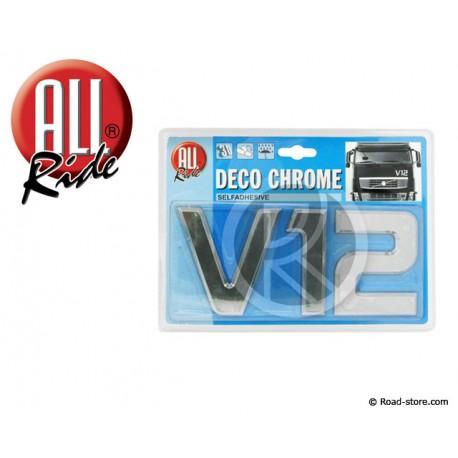 "Decoration ""V12"" Chrome 3D 9CM X1"