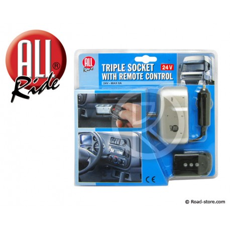 Tirple socket with remote control 24V max. 8Amp