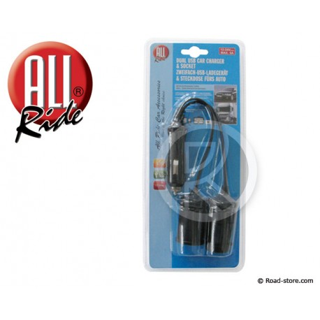 PRISE USB DOUBLE 12/24V 5V 3100mA + EMBOUT AC + CABLE RALLONGE