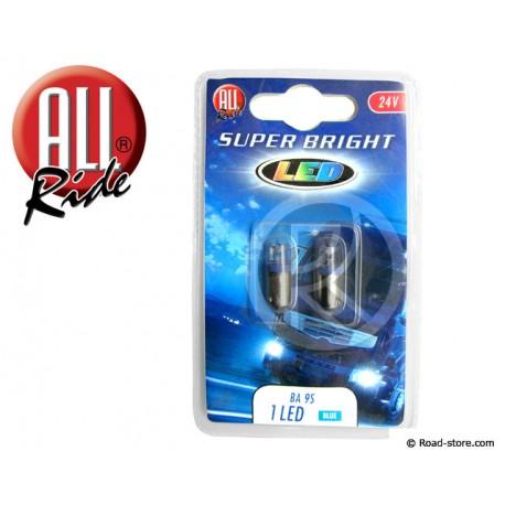 AMPOULE 1 LED BA9S 24 VOLTS BLEUE X2