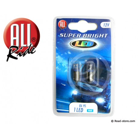 Glühlampe 1 LED BA9S 12V Blau X2
