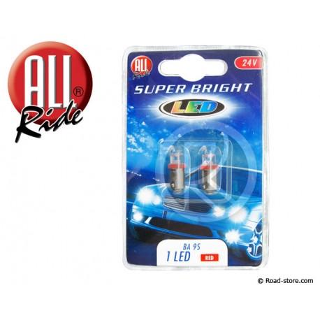AMPOULE 1 LED BA9S 24 VOLTS ROUGE X2