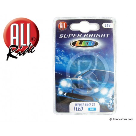 AMPOULE 1 LED WEDGE BASE T5 12V BLEUE X2