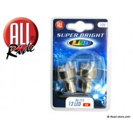 AMPOULE 12 LEDS BA15S 12V ROUGE X2