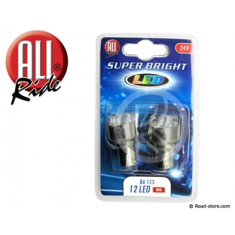 AMPOULE 12 LEDS BA15S 24 VOLTS ROUGE X2