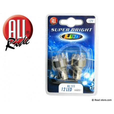 AMPOULE 12 LEDS BA15S 12 VOLTS BLANCHE X2