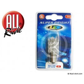 Bulb 20 LEDS BA15S 24 VOLTS Red