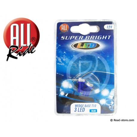 Bulb 3 LEDS WEDGE BASE T10 12V Blue X2