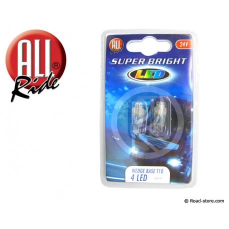 Bulb 4 LEDS WEDGE BASE T10 24V White X2
