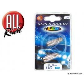 Glühlampe 6 LEDS 11x38 MM 12 VOLTS Blau X2