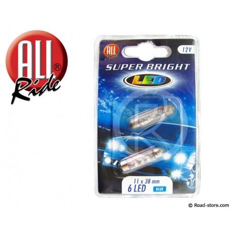 AMPOULE 6 LEDS 11x38 MM 12 VOLTS BLEUE X2