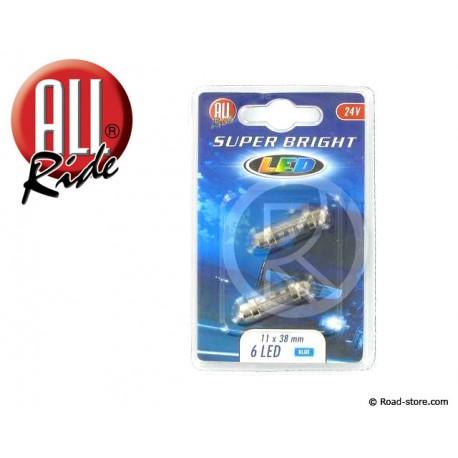 Glühlampe 6 LEDS 11x38 MM 24V Blau X2