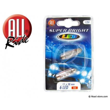 Glühlampe 6 LEDS 11x38 MM 12V Rot X2