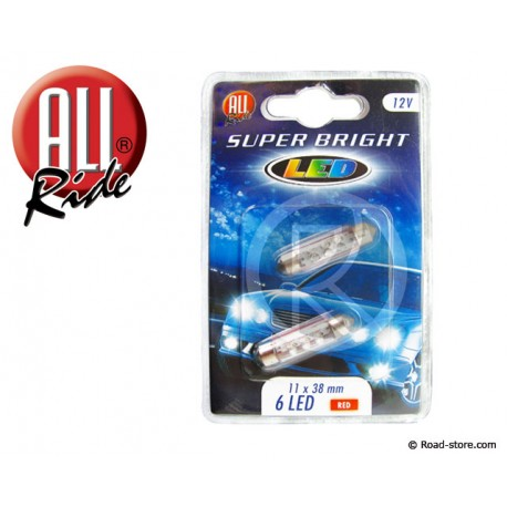 Bulb 6 LEDS 11x38 MM 12V Red X2