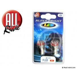 Bulb 9 LEDS BA15S 12V Red X2