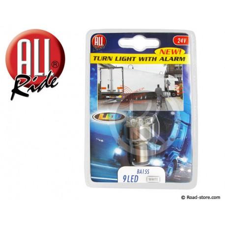 AMPOULE ALARME CLIGNOTANT 9 LEDS BA15S 24V BLANC
