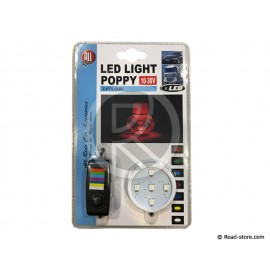 SUPPORT ADH. LUMINEUX POPPY 5 LEDS 7 COULEURS 10/30V + BOUTON CDE
