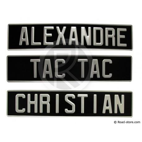 Plate aluminium black personnalisable