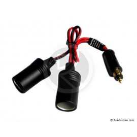 Double car charger 12/24V 15A max 300W + plug