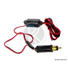 Cigarette lighter plug 15A + cable + fuse box