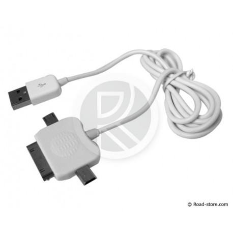 cable connexion 3 en 1 mini usb micro usb connecteur apple road store. Black Bedroom Furniture Sets. Home Design Ideas
