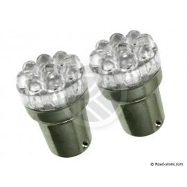 2 Bulbs 9 LEDS T18-01 24V Red