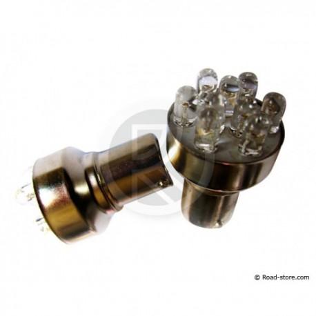 Bulb 9 LEDS BA15S 24V Blue X2