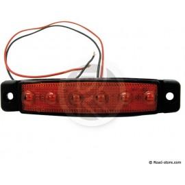 Side clearance lights extra flat 6 leds 24V red 9,6x2x0,7cm