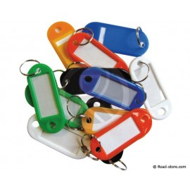 12 key rings with plastic label