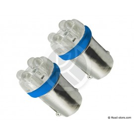 Glühbirne 4 Leds BA9S 24V Blau x2